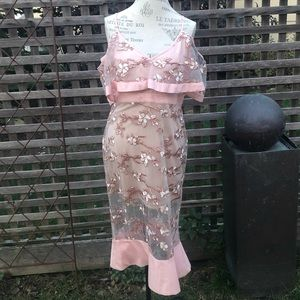 Venus pink sheer off the shoulder dress NWOT